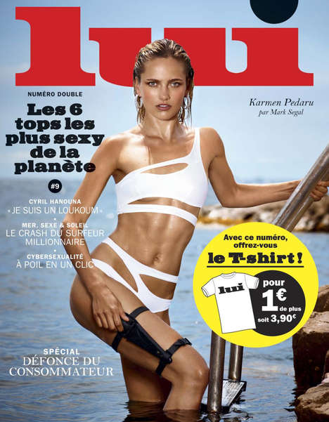 Scandalous Swimwear Editorials - Sultry Model Karmen Pedaru Poses for Lui July/August 2014