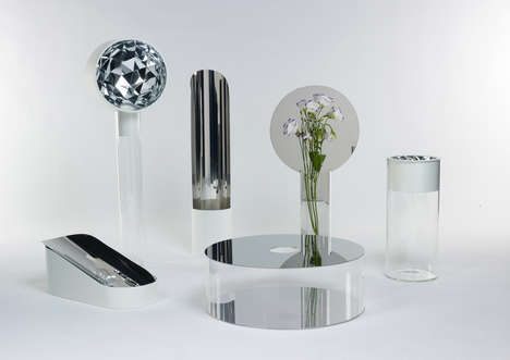 Mirrored Flower Vases - The Narciso Collection Reflects the Beauty of Its Contents