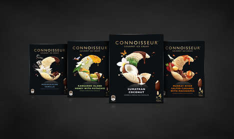 Gourmet Ice Cream Packaging - Packaging for Connoisseur Gourmet Ice Cream is Crisp and Decadent