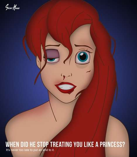 Abused Princess Ads - These Battered Disney Ads by Saint Hoax Hope to Put an End to Domestic Abuse