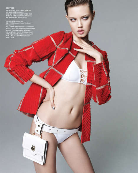 Swimwear-Inspired Fashion - The Vogue Korea July 2014 Cover Shoot Stars Lindsey Wixon
