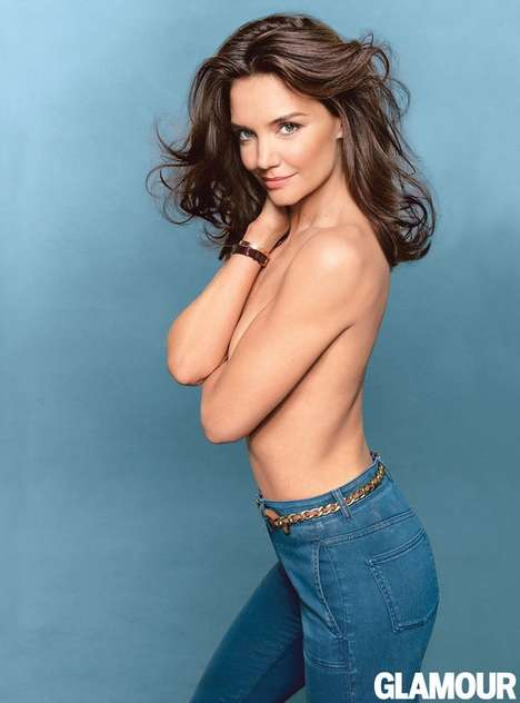Topless Denim Editorials - Katie Holmes Stars in the Cover Story for the Glamour August 2014 Issue