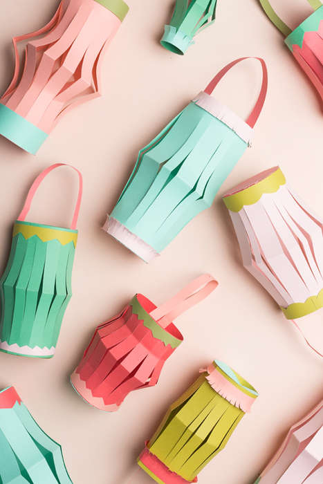 Pleated Paper Lanterns - These DIY Chromatic Paper Lanterns are Super Easy to Make