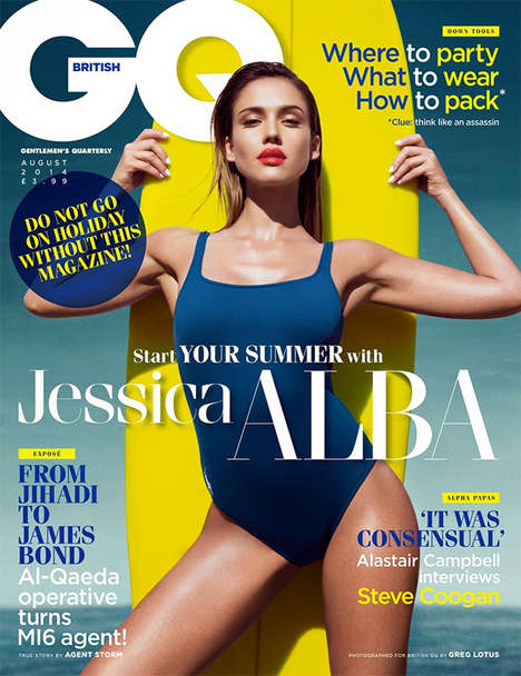 Sensual Lifeguard Editorials - The GQ UK Cover Shoot Stars Actress Jessica Alba