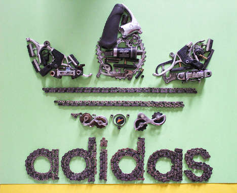 Recycled Bicycle Artwork - These Iconic Posters and Logos Were Made Using Bicycle Parts