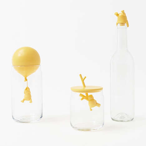 Beloved Bear Bottle Stoppers - Nendo Designed Winnie the Pooh Glassware for Walt Disney Japan