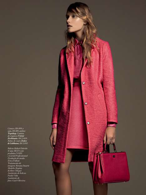 Monochromatic Neon Editorials - The Marie Claire Brazil Issue Stars Regina Krilow