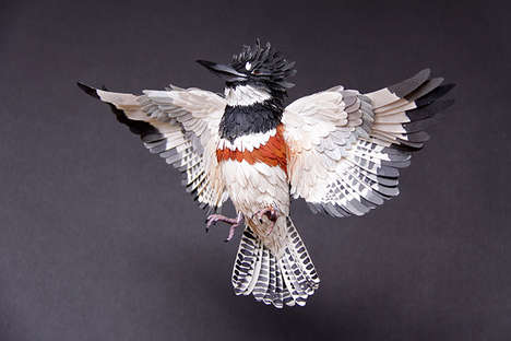 Corrugated Bird Sculptures - These Paper Birds by Artist Diana Beltran Herrera are Hyperrealistic