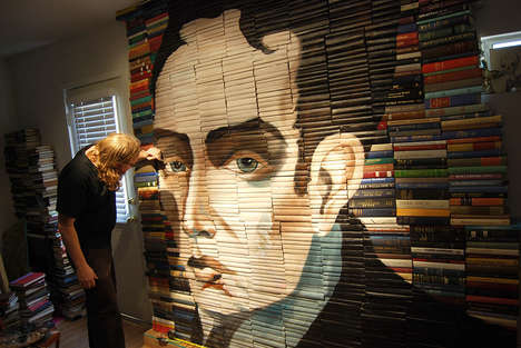 Book Spine Illustrations - Mike Stilkey Creates Book Illustrations with Reclaimed Books
