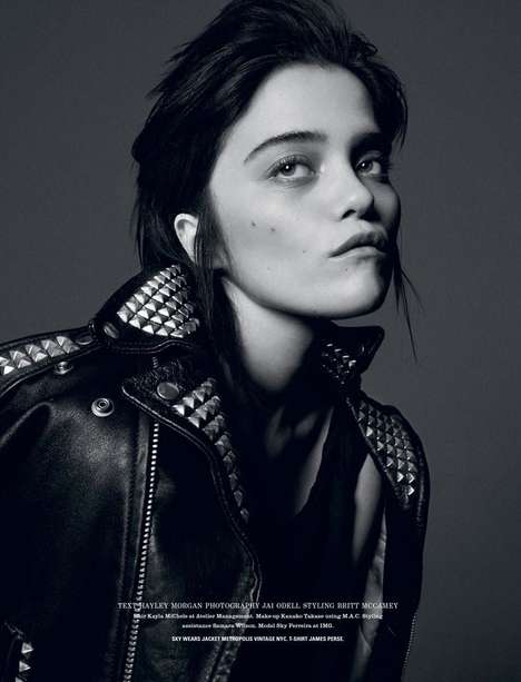 Greyscale Bedhead Editorials - The Sky Ferreira i-D Photoshoot has a Rock Star Edge