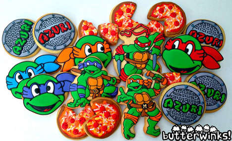 Cartoon Turtle Cupcakes - Butterwinks Has Decorated Cookies with Incredible Graphics Atop