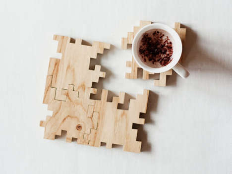 Geometric Puzzle Coasters - These Wooden Coasters from Etsy