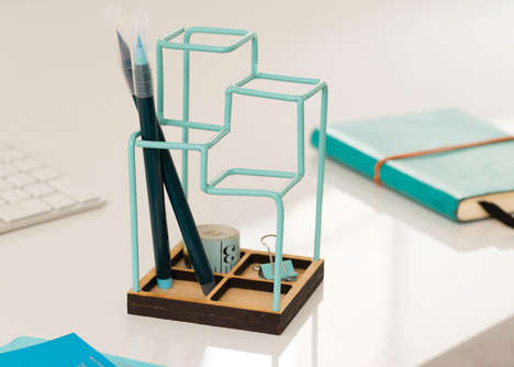 Geometric Pen Holders - These Pen Holder Designs Take Inspiration from Pencil Doodling