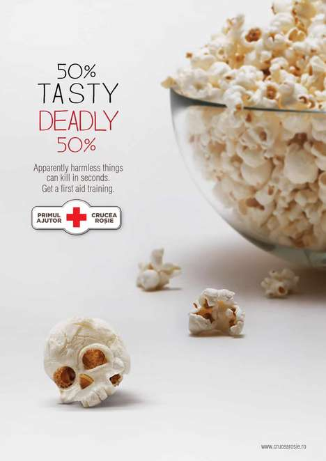 Killer Popcorn Ads - This Red Cross Ad Presents Popcorn as a Deadly Killer