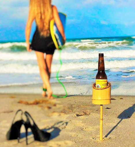 Exotic Beach Drink Holders - This Beach Drink Holder Lets You Bring Your Beer to the Water
