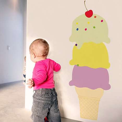 Giant Dessert Decals - These Unique Wall Stickers are Shaped Like Gigantic Ice Cream Cones
