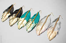 Gold-Dipped Avian Accessories - Etsy's Love at First Blush Shop Creates Feather Earring Accessories