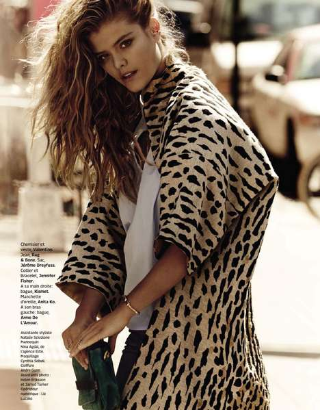 Urban Sepia Editorials - Nina Agdal Poses in Chic Sunglasses gor Grazia France July 2014