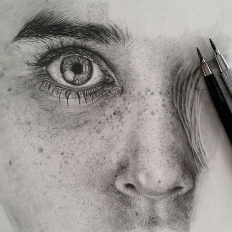 Photorealist Pencil Portraits - Monica Lee Produces Photorealist Pencil Portraits