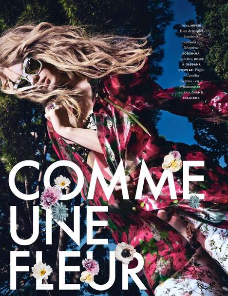 Floral Parkette Editorials - Model Hollie May Saker Dances in the Sunshine for Elle France July 2014