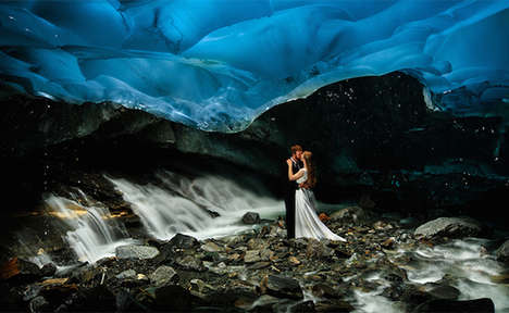 Nuptial Glacier Photography - Chris Beck Photographed a Bride and Groom Under a Glacier