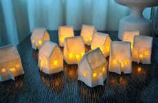 Small City Illuminators - Hunky Dorky's Mini Felt House Luminaries Sets Resemble Mini Neighbourhoods