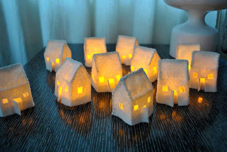 Small City Illuminators - Hunky Dorky's Mini Felt House Luminaries Sets Resemble Mini Neighbourhoods