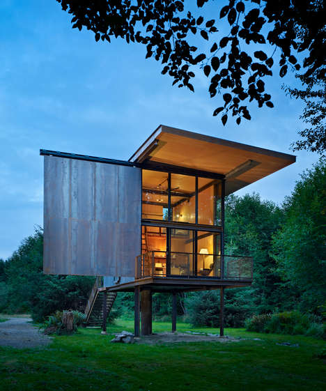 Compact Elevated Cabins - Olson Kundig Architects' Sol Duc Cabin Design Withstands Floods