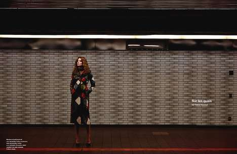 Glamorous Subway Editorials - Model Eniko Mihalik Poses in Abandoned Stations for Numéro