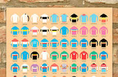 Cycling Tournament Art - Etsy's Beachomatic Shop's 100 Jerseys Tour de France Poster is Iconic