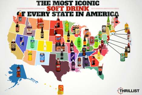 Typographic Soda Infographics - The Most Iconic Soft Drink Map Charts Popular Pops in Each State