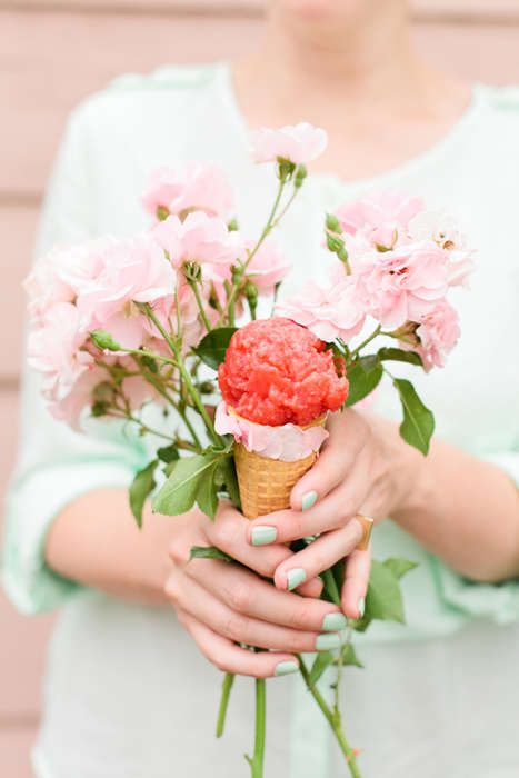 Flower-Flavored Sorbets - This DIY Sorbet Recipe is Infused with Strawberries and Roses