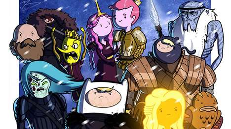 Fantasy Cartoon Mash-Ups - This Game of Thrones Fan Tribute Illustration Features Adventure Time