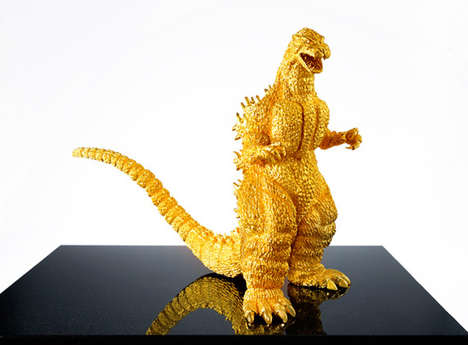 Golden Lizard Statues - This Opulent Godzilla Statue is Made from Solid Gold