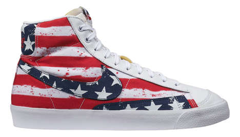Patriotic Banner Sneakers - The Nike Blazer USA Shoes Aesthetically Replicate the American Flag