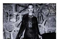 Gothic Glam Editorials - The Vogue Brazil Issue Stars Model Karlie Kloss