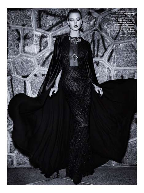Gothic Glam Editorials - The Vogue Brazil July 2014 Issue Stars Model Karlie Kloss
