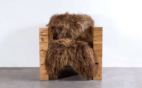 Sheepskin Armchairs - The JooJay Armchair by Sentient is Fit for Medieval Kings and Queens