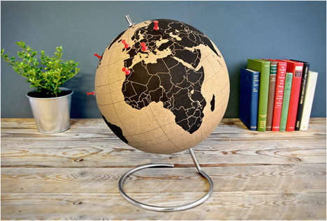 Cork World Globes - This Cork Board Globe Design Lets You Mark Where You