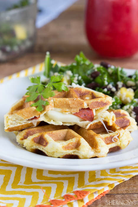 Stuffed Pizza Waffles - These Savory Cheese and Pepperoni Waffle Sandwiches are Mouth-Watering