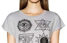 Edgy Occult Tees - Pixie Market's Sun and Moon Symbol Crop Top is Spiritually Chic