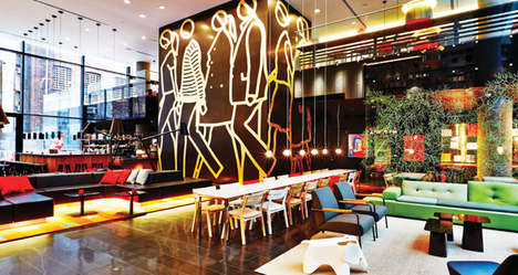 Eclectic Hotel Lounges - The Lobby Design of the citizenM New York Reflects a Lively Neighborhood