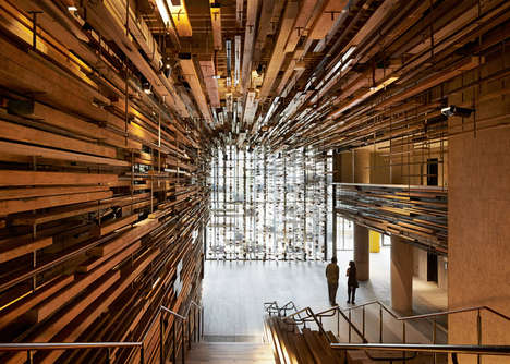 Recycled Hotel Lobbies - This Unique Hotel Lobby is Made from Slabs of Timber Planks