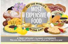 Indulgent Culinary Infographics - This Expensive Food Infographic Suggests a One-Day Feast