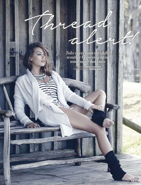 Casual Knits Editorials - The Cosmopolitan Australia August 2014 Photoshoot Stars Amanda Mondale