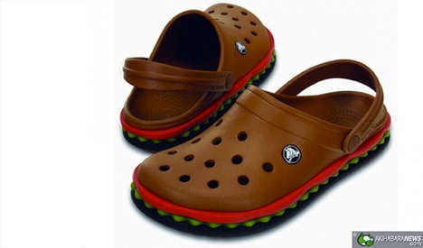 Hamburger-Like Clogs - The Hamburger Crocs Fast Food Shoes Make an Unattractive Shoe Look Tasty