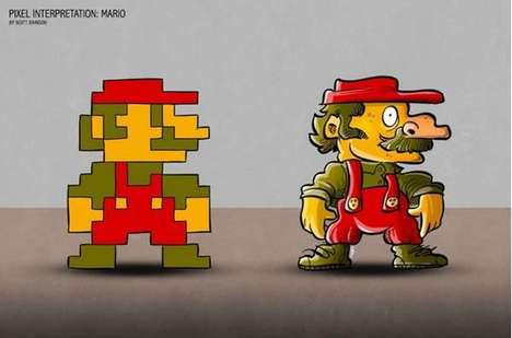 Real-Life 8-Bit Characters - Illustrator Scott Johnson Terrifyingly Fleshes Out Video Game Sprites