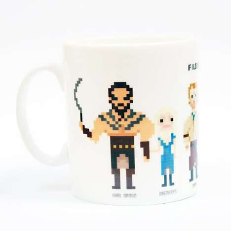 8-Bit Character Cups - This Pixelated Game of Thrones Mug Design Features a Variety of Characters