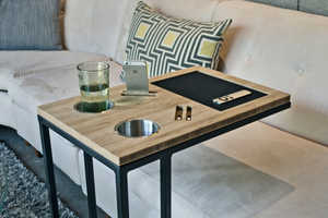 Caddy is a TV Tray Table to Keep Tablets, Remotes, Phones & Drinks Neat