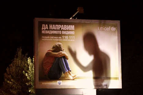 Violent Shadow Billboards - UNICEF's Domestic Violence Ad Takes on a Darker Tone at Night